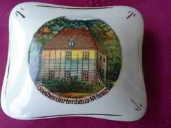 Kézzel festett, porcelán doboz, Goethe kerti háza. RITKA!