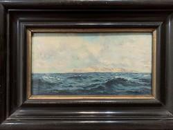 19. századi festmény: Háborgó tenger olaj-fa 1870-1880 körül