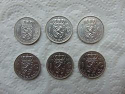 Hollandia 6 darab ezüst 1 gulden 6.5 gramm ezüst érmék