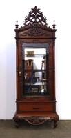 1D865 Antik nagyméretű egzotikus üveges tükrös vitrin 220 cm