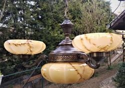 Artdeco csillár színes üveg búrákkal