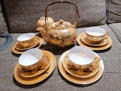 Aranyszínű japán teáskészlet, 4 személyes, kis vázával a teljes hangulat kedvéért :)