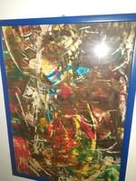 Gyönyörű, szignózott, nagyméretű modern absztrakt festmény - 1 hetes aukción, garanciával!