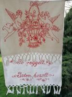 Antik régi vászon dísztörölköző törölköző törlő Jó reggel Isten hozott angyalokkal 91 x 40