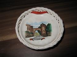 Bodrogkeresztúri Kerámia - Veszprém falitányér / kosár (1960-as évek) (*)
