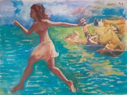Elio Giori ?: A szélvész lány, eredeti jelzett olaj-vászon