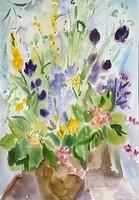 Scultéty Éva - Csendélet 45 x 31 cm akvarell, papír