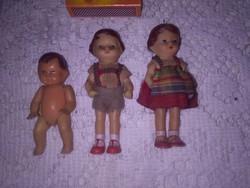 Régi kicsi gumi baba - három darab együtt