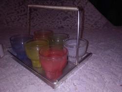 Retro színes pohár készlet füles tálcán - likőrös, pálinkás, röviditalos