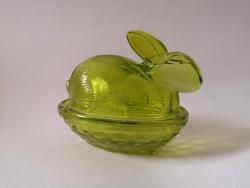 Vintage nyulas zöld üveg cukortartó