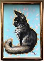 Figyelő macska - keretezett akrilfestmény (cica)