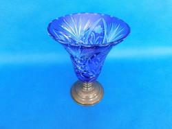 Kristály  kék óriás  üveg váza ezüst talpon 24cm