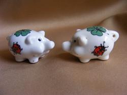 2 db mini porcelán katicás lóherés szerencse malac