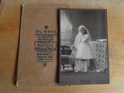 Hibátlan budapesti fotó T1/2!!!, nagy alakú, elsőáldozó lány, ~1910, saját fóliájában