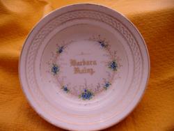 Antik nefelejcses kézzel festett fali tányér