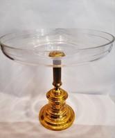 Antik nagyméretű metszett üveges, réz talpú kínáló