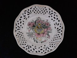 Csodálatos, kézi festésű, áttört porcelán tálka, fali tányér, hibátlan