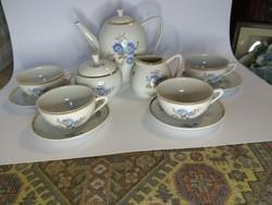Kék virágos hollóházi retro 4 személyes teás készlet