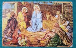 Vallási témájú grafikus képeslap Temerini Plébániahivatal,postatiszta
