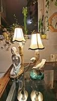 2 db. régi, mázas kerámia, asztali lámpa, szerelvényezve , ernyővel,
