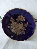 Aranyozott kobalt festésű, virágos tányér/fali tányér