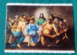 Utolsó vacsora - vallási,húsvéti képeslap,Magyar Nemzeti Galéria, Budapest,írott