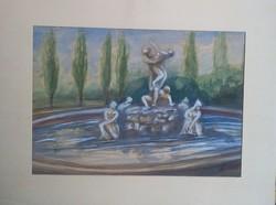 Bicskei Karle Istvan-aquarelle-Szabin Nok Elrablasa