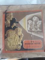 Lemezárugyári retro játék- retro Diafilm vetitő potégővel az 1950-es évekből