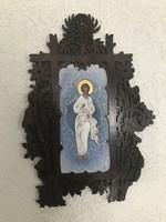 Nagyon szép nagy kézzel festett szentkép áttört fa keretben