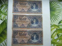 Ötszáz pengő sorszámkövető 3db sérült bankjegy