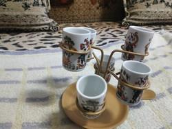 Retró röviditalos porcelán pohár szett
