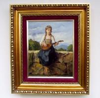 MÉLYEN ÁR ALATT Gulyás László olaj-vászon festmény csodaszép keretben.