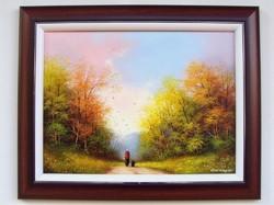 Őszi séta haza KERETEZVE 40x50cm olajfestmény