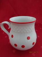 Hollóházi porcelán, piros pettyes öblös pohár. Magassága 10 cm.