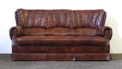 1D888 Barna színű bőr ülőgarnitúra háromszemélyes kanapé 175 cm