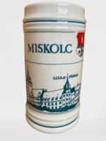 Új, hibátlan hollóházi Miskolc-Diósgyőr-Lillafüred sörös korsó 15 cm magas