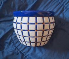 Nagy Kék-fehér Kerámia Kaspó festett-mázas