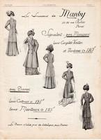 Manby női ruha hirdetés 1909, eredeti, újság, plakát, francia nyelvű, 30 x 40 cm, régi, divat