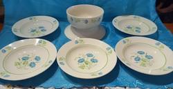 Kék virágos Gránit mély tányérok és egy tál