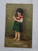Antik litho/litográfiás,képeslap/üdvözlőlap kislány kutyával/kutya 1913-ból