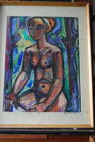 Józsa János festőművész Női akt plenerben