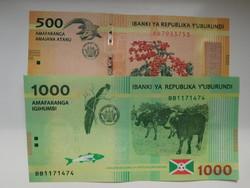Burundi 500-1000 francs  2015 UNC