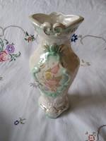 Virágos porcelán váza lüszteres mázzal