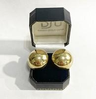 Extra mutatós, 14k arany gömb fülbevaló pár - 17g