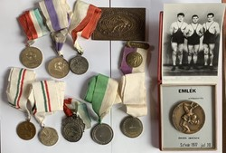 Ördögh Imre magyar bajnok bírkozó (1956) 27 db érme és 2 db plakettje + fotó!