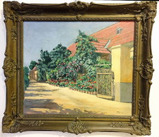 Tőkés : Virágos udvar,56 x 66 cm,olaj-vászon