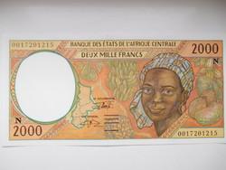 Közép Afrikai Áll /Egyenlítői Guinea/  2000 francs 2000 UNC Ritka!
