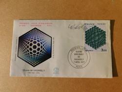 Victor Vasarely:Első napi boríték FDC 1977. Vasarely saját kezű aláírásával