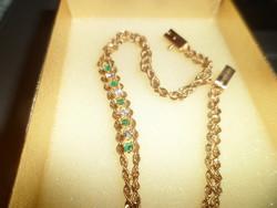 14K arany karlánc / smaragd, brill