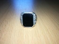Ezüst pecsétgyűrű fekete onix kővel 835!